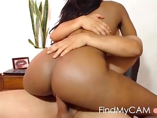 busty bubblebutt ebony rides white cock online