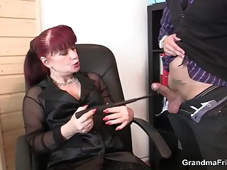 cocksucking old woman in stockings riding cock