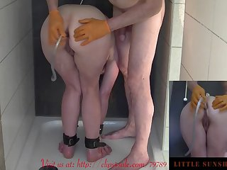 kinky enema slave training with showerhead bound nd kneeling