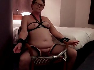 restrained in the chair titty tied vibed to orgasm